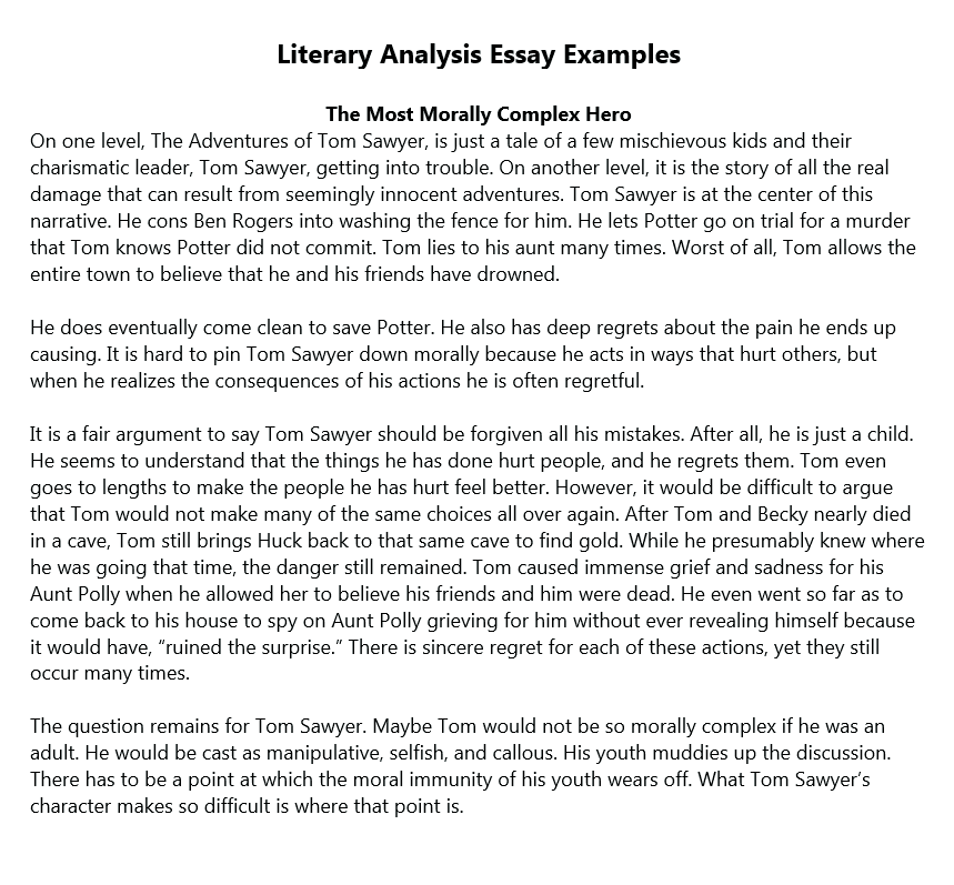 Analysis essay thesis example